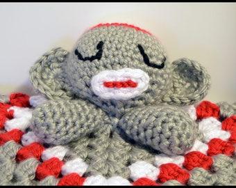 XL Sock Monkey Lovie Blanket