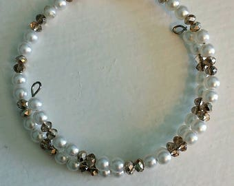 Bronze and Pearl Memory Wire Bracelet
