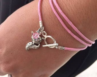Fox Wrap Toggle Bracelet Pink Swarovski Crystal