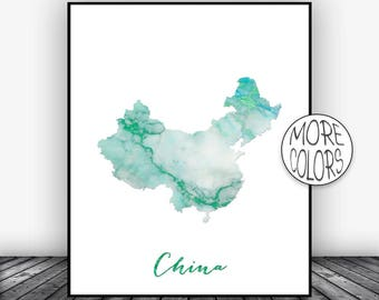 China Print, China Art Print, Watercolor Map, China Map Decor, Wall Art Prints, Marble Wall Art, Housewarming Gift, ArtPrintsZoe