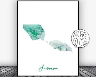 Samoa Print, Samoa Art Print, Home Decor, Samoa Map Wall Art Prints, Wall Art, Home Wall Decor, Living Room Decor, ArtPrintsZoe