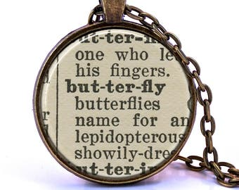 Butterfly Dictionary Pendant Necklace