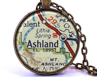 Ashland, Oregon Map Pendant Necklace - Created from a vintage map published in 1956.