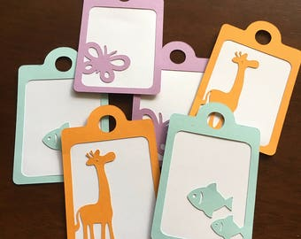 Animal Gift Tags - Giraffe, Fish, Butterfly Variety (Set of 9)