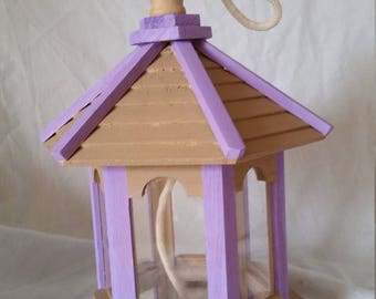 Mother's Day Gift  Hand Painted Lilac and Beige Bird Feeder