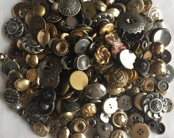 Huge button assortment - almost 2 lbs. - many vintage - mostly metal