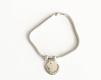 Silver snake bracelet with personalised charm