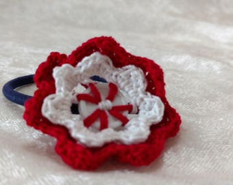 Hair Tie with Crocheted Button Flower