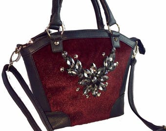 Classic and luxurious burbandy fuax fur tote bag with stunning embellishment to sparkle the night away