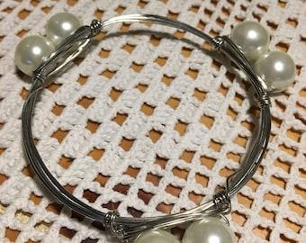 Pearl bangle stack bracelet