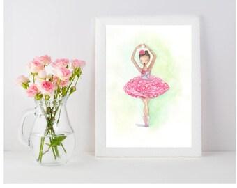 Carnation watercolor ballerina
