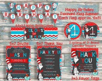 Dr Seuss Personalized Birthday Decoration Package - First birthday - Any Age - Cat In the Hat - Printable Decorations