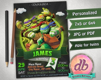 Teenage Mutant Ninja Turtles Invitation, TMNT Invitation, TMNT Birthday Party, Cartoon, Personalized, Printable, Chalkboard, Digital File