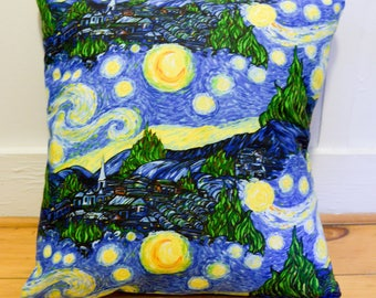 Starry Night Design Pillow 14x14 - Illustrated Pillow - Starry Night Pillow - Starry Night Fabric - Starry Night Home Decor - Starry Night