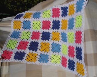 Handmade Multi-Coloured Granny Square Crocheted Baby Blanket, Cot Blanket, Wrap, Knee Blanket