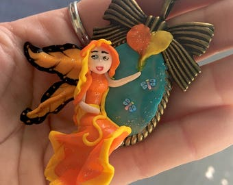 Fairy necklace, fimo, polymer clay fairy Necklace Orange l'innamorata Fairy, fairy in love