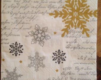 4 Decoupage Paper Napkins Snowflake Cursive Script for Decoupage Scrapbooking Crafts 073