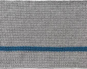 Handmade Crocheted Placemats Gray & Blue
