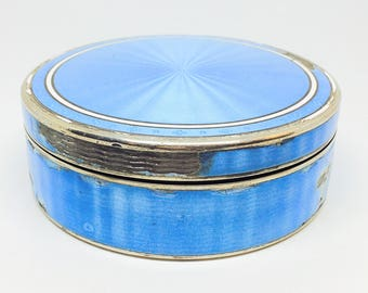 Antique French Silver guilloche Enameled blue box France ca. 1890