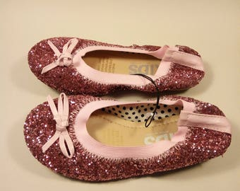 glittery pink flat toddler girls shoes size 12