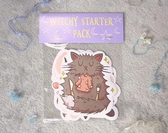 Hungry Witch sticker pack - magic - spells - cauldron