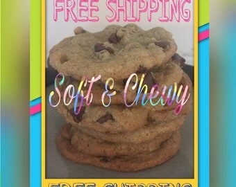 FREE SHIPPING!!! Soft & Chewy Gourmet Chocolate Chip Cookies 1/2 Dozen (6)
