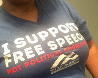 Free Speech VNeck TShirt Size Large