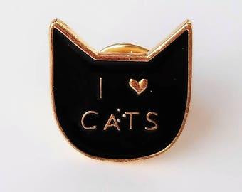Enamel I LOVE CATS pin - I love Cats Enamel pin - Pine amo a los gatos - Enamel cat brooch-cat lovers- Broche de gatos- kittens enamel pins