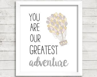 You Are Our Greatest Adventure Hot Air Balloon Lavender 8x10 Printable Art, Instant Download, Greatest Adventure Nursery, Baby Shower Decor