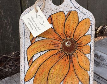Cheese Plate, Black-eyed Susan, Rustic Pottery