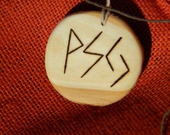"Wooden Rune-bind talisman ""AntiDepressant"" pyrography hand made Asatru Wicca Pagan Elder FUTHARK"