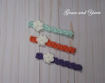 Crochet cotton flower headband with pearl bead