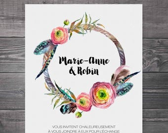Wedding invitation, announcement 5x7 in with envelope A7 - Bohemian, crown, feathers, branch, modern, flowers, pink, blue
