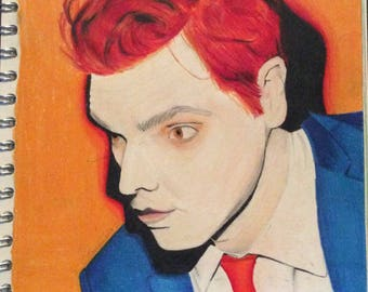 Hand drawn Gerard Way prismacolor coloured pencil - original