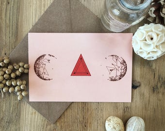 Highlighted Triangle Design Art Card, No Specific Occasion, Quirky Original Art Designs, Landscape, Recycled Card