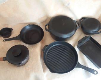 Copco  Cast Iron Dutch Oven Vintage set. Mid century modern.Vintage Michael Lax Copco Denmark Set