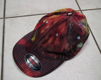 AWESOME S/M hat ballcap cap tie-dye rainbow red yellow Flexfit grateful dead phish