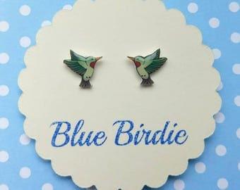 Humming bird earrings hummingbird jewelry hummingbird jewellery tiny bird stud earrings humming bird gift humming bird studs