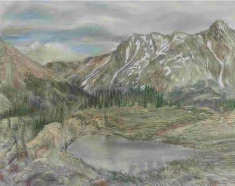 Rocky Mountains in Summer, 1982, by Fritz Stehwien - Greeting Card (blank inside)