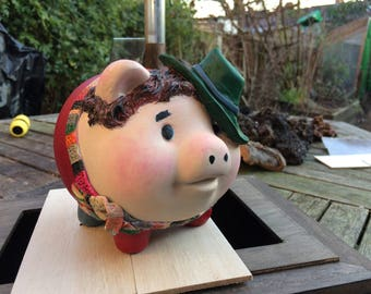 Pigs in Cosplay Tom Bacon Piggy Bank inspired by Dr Who Tom Baker the 4th Doctor