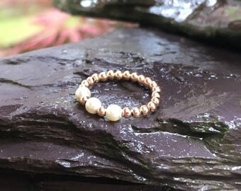Rose Gold  14 kt stretch bead Toe ring  with triple Swarovski pearls comfy!  U.K.