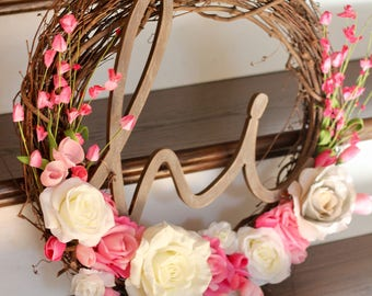 Floral wreath, front door wreath, artificial wreath, rose wreath, pink and white wreath.