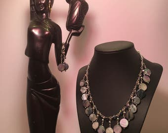 Blue Mother-of-Pearl & Crystal 2 Piece Set