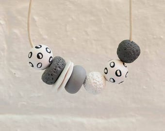 Polka Dot Moon Asymmetrical Polymer Clay Necklace