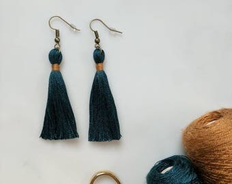 Blue tassel earrings silk 7cm 2.5in, 2 sizes blue tassle earrings gold bronze silver hook glamorous boho dangle blue silk earrings fringe