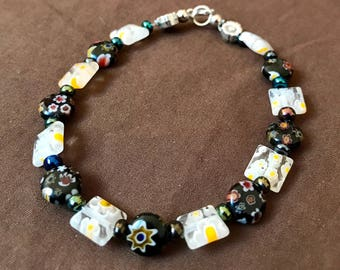 Black + White Flower Bracelet