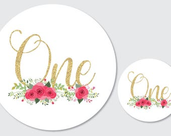 Party stickers 'one' - 30mm diameter party stickers, floral with faux glitter text