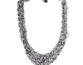 Black gray beaded necklace