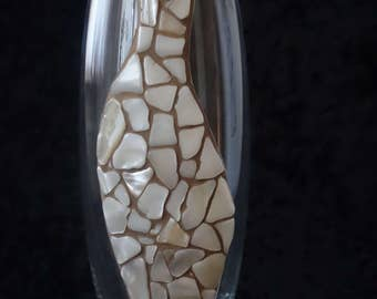 "Glass vase ""In motion"" with mother of pearl mosaic"
