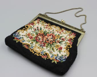 Vintage  gobelin bag,  tapestry bag with roses, party bag, wedding bag,  wedding sachet  oldtimer purse chained, bohemian chick, shabby